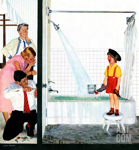 """Overflowing Tub"", December 3, 1955 Stretched Canvas Print"