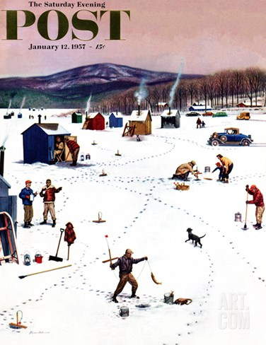 """Ice Fishing Camp"" Saturday Evening Post Cover, January 12, 1957 Stretched Canvas Print"