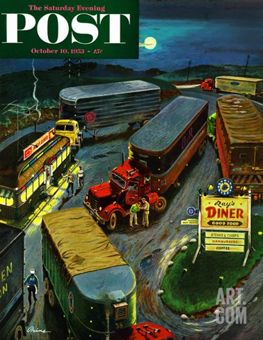 """Truck Stop Diner"" Saturday Evening Post Cover, October 10, 1953 Stretched Canvas Print"