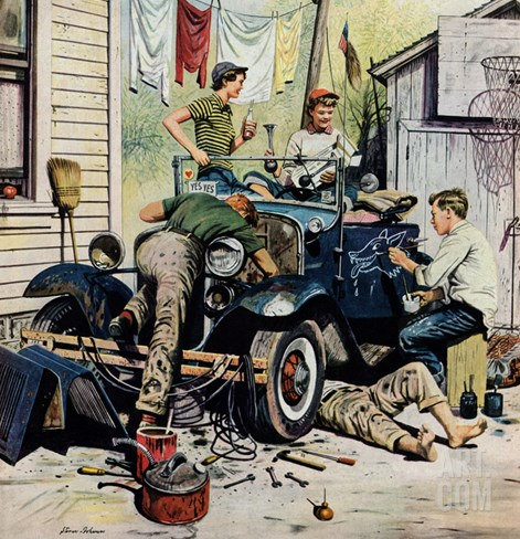 """Working on the Jalopy"", May 20, 1950 Stretched Canvas Print"