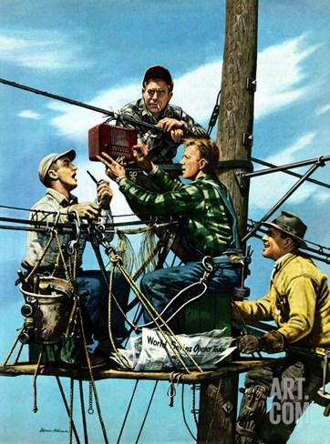 """Linemen Listen to World Series"", October 4, 1952 Stretched Canvas Print"