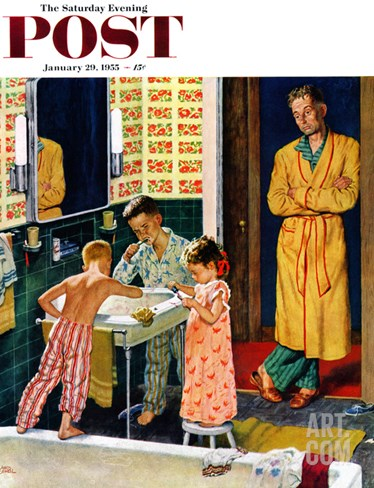 """Brushing Their Teeth"" Saturday Evening Post Cover, January 29, 1955 Stretched Canvas Print"