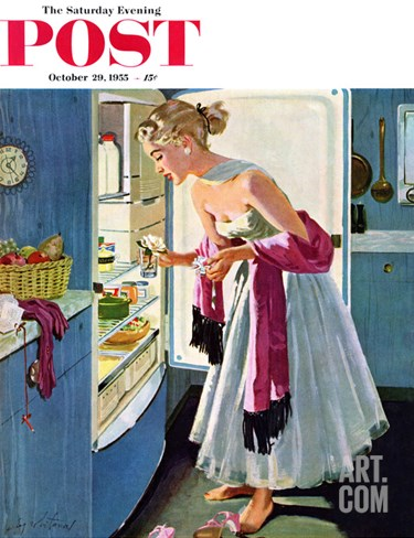 """Prom Momento"" Saturday Evening Post Cover, October 29, 1955 Stretched Canvas Print"