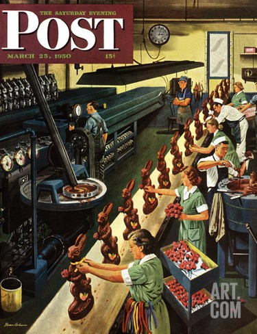 """Chocolate Easter Bunnies"" Saturday Evening Post Cover, March 25, 1950 Stretched Canvas Print"