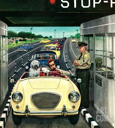 """Stop and Pay Toll"", April 7, 1956 Stretched Canvas Print"