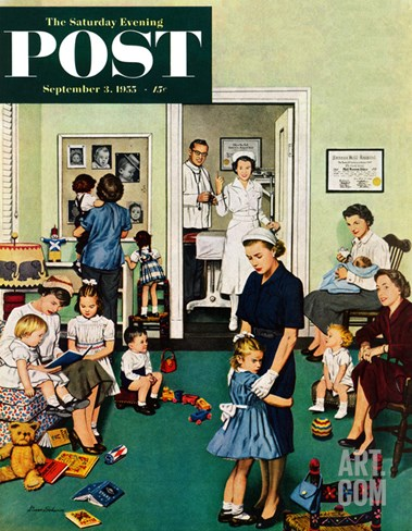 """Separation Anxiety"" Saturday Evening Post Cover, September 3, 1955 Stretched Canvas Print"