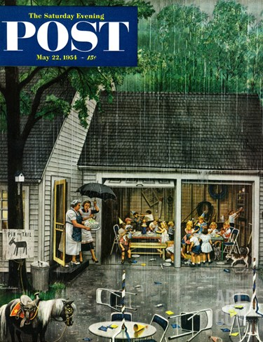 """Rain-out Birthday Party"" Saturday Evening Post Cover, May 22, 1954 Stretched Canvas Print"