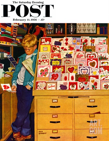 """First Valentine"" Saturday Evening Post Cover, February 11, 1956 Stretched Canvas Print"