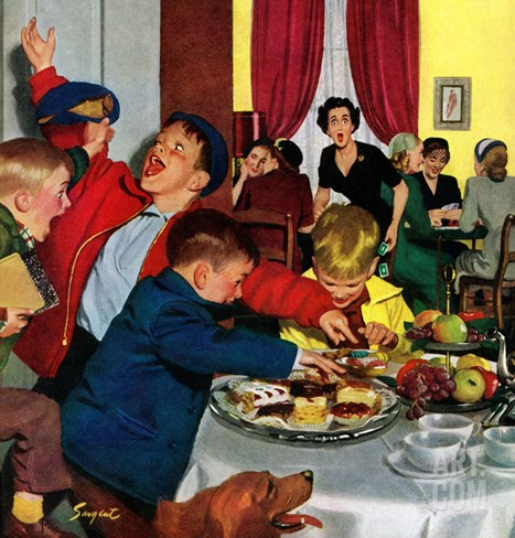 """Crashing Mom's Card Party"", December 20, 1952 Stretched Canvas Print"