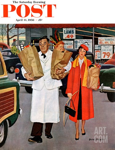 """Sack Full of Trouble"" Saturday Evening Post Cover, April 14, 1956 Stretched Canvas Print"