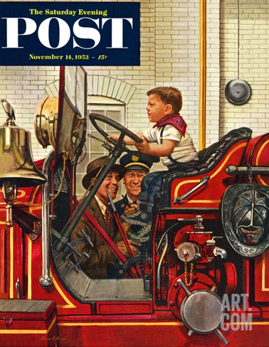"""Boy on Fire Truck"" Saturday Evening Post Cover, November 14, 1953 Stretched Canvas Print"