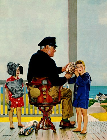 """Listening to the Sea"", July 21, 1956 Stretched Canvas Print"