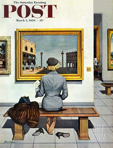 """Art Lover"" Saturday Evening Post Cover, March 3, 1956 Stretched Canvas Print"