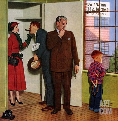 """""""Worried Rental Agent"""", March 7, 1953 Stretched Canvas Print"""