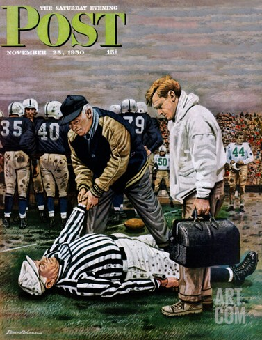 """Ref Out Cold"" Saturday Evening Post Cover, November 25, 1950 Stretched Canvas Print"