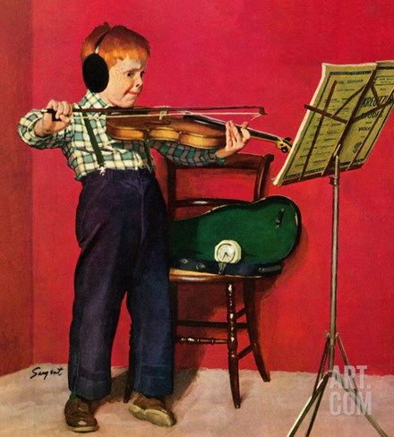 """Violin Practice"", February 5, 1955 Stretched Canvas Print"