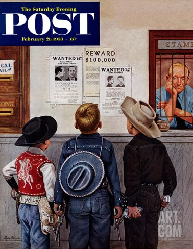 """Wanted Posters"" Saturday Evening Post Cover, February 21, 1953 Stretched Canvas Print"