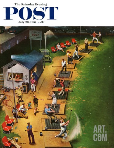 """""""Golf Driving Range"""" Saturday Evening Post Cover, July 26, 1952 Stretched Canvas Print"""