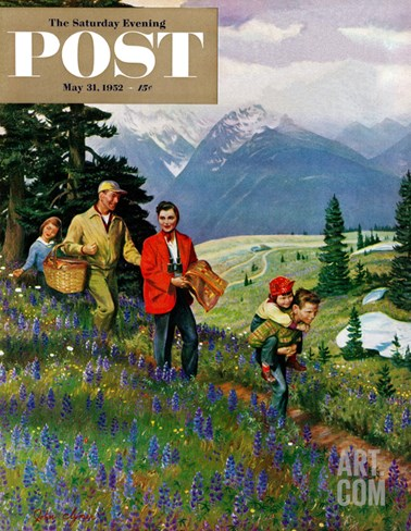 """Hiking in Mountains"" Saturday Evening Post Cover, May 31, 1952 Stretched Canvas Print"