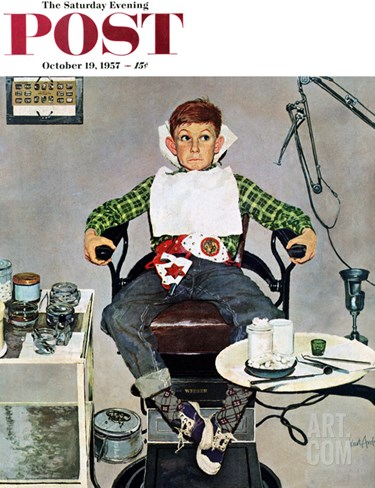 """In the Dentist's Chair"" Saturday Evening Post Cover, October 19, 1957 Stretched Canvas Print"