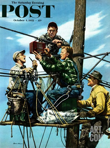 """Linemen Listen to World Series"" Saturday Evening Post Cover, October 4, 1952 Stretched Canvas Print"