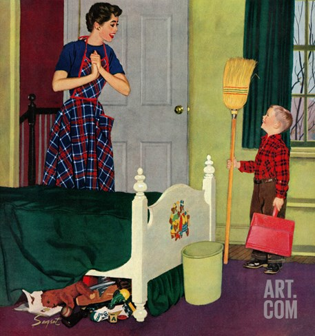 """Mom, I Cleaned My Room!"", April 2, 1955 Stretched Canvas Print"