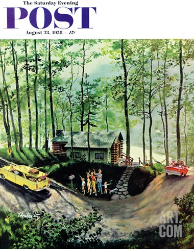 """Visitors to Cabin in the Woods"" Saturday Evening Post Cover, August 23, 1958 Stretched Canvas Print"