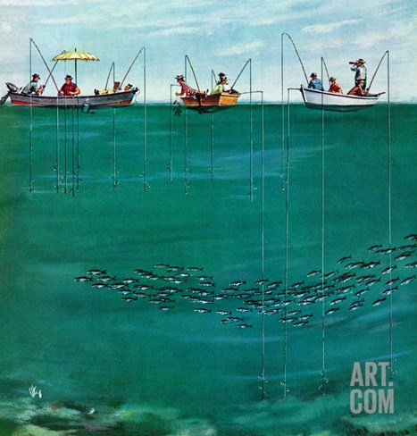 """School of Fish Among Lines"", August 7, 1954 Stretched Canvas Print"