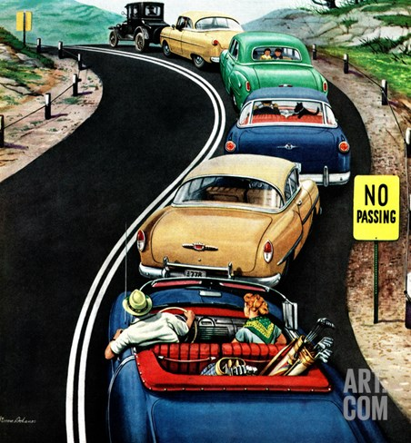 """No Passing"", October 9, 1954 Stretched Canvas Print"
