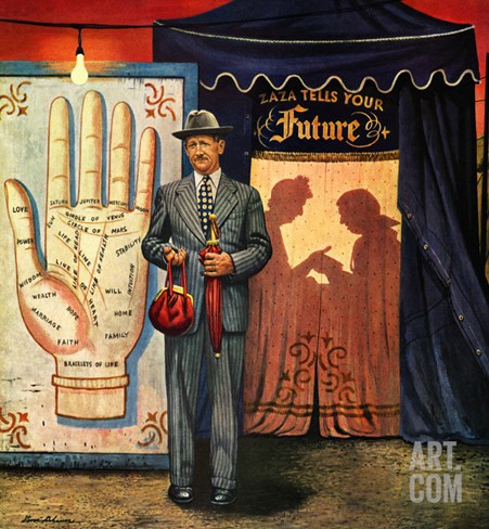 """Palmist"", June 10, 1950 Stretched Canvas Print"