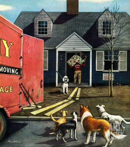 """New Dog in Town"", March 21, 1953 Stretched Canvas Print"