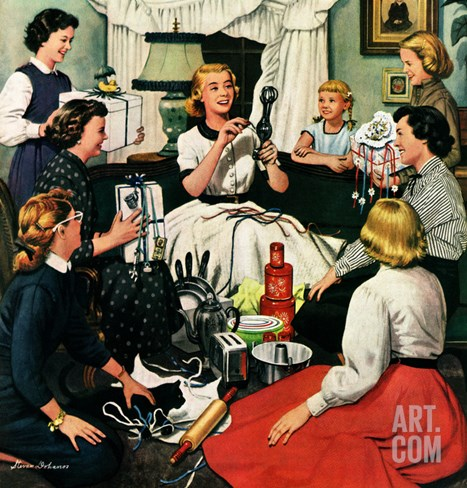 """Bridal Shower"", February 26, 1955 Stretched Canvas Print"