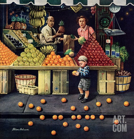 """Towddler and Oranges"", September 19, 1953 Stretched Canvas Print"