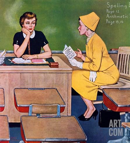 """Parent - Teacher Conference"", December 12, 1959 Stretched Canvas Print"