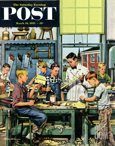 """Shop Class"" Saturday Evening Post Cover, March 19, 1955 Stretched Canvas Print"