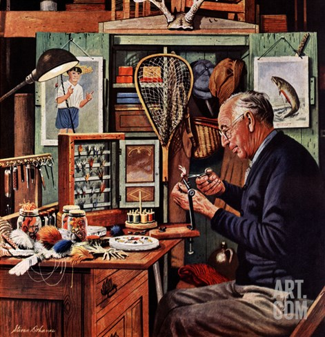 """Tying Flies"", March 4, 1950 Stretched Canvas Print"