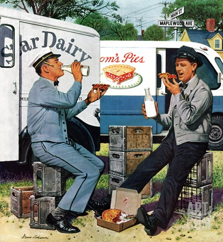 """Milkman Meets Pieman"", October 11, 1958 Stretched Canvas Print"