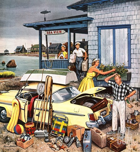 """Packing the Car"", September 8, 1956 Stretched Canvas Print"