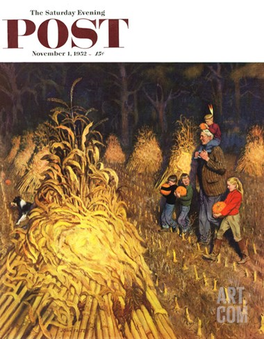 """Bring Home Pumpkins"" Saturday Evening Post Cover, November 1, 1952 Stretched Canvas Print"