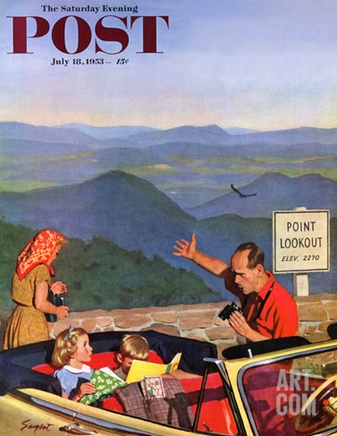 """Lookout Point"" Saturday Evening Post Cover, July 18, 1953 Stretched Canvas Print"