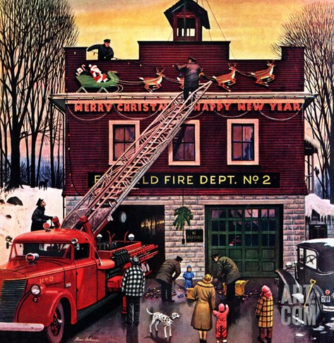 """Christmas at the Fire Station"", December 16, 1950 Stretched Canvas Print"