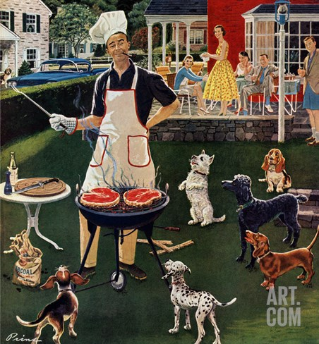 """Hot Dogs"", September 13, 1958 Stretched Canvas Print"