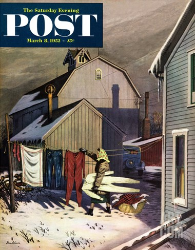 """Frozen Laundry"" Saturday Evening Post Cover, March 8, 1952 Stretched Canvas Print"