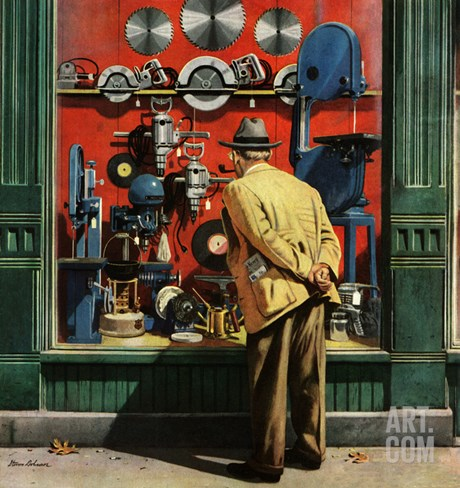 """Power Tool Window Shopping"", November 10, 1951 Stretched Canvas Print"