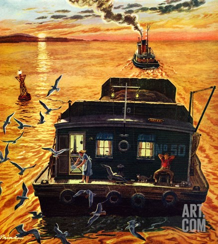 """Barges"", April 6, 1957 Stretched Canvas Print"