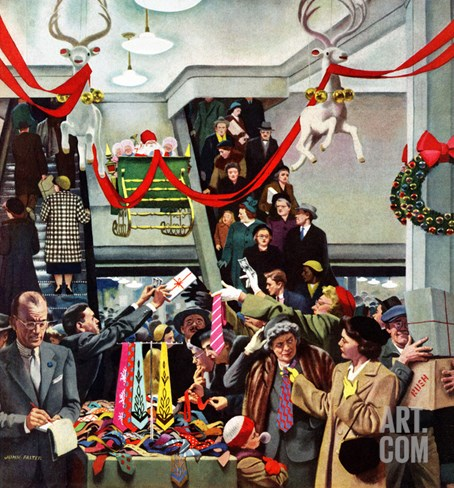 """Department Store at Christmas"", December 6, 1952 Stretched Canvas Print"