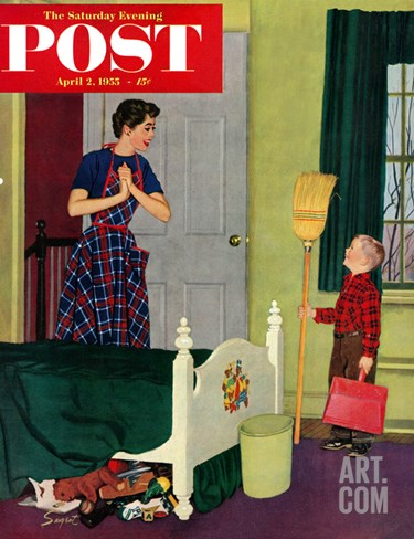 """Mom, I Cleaned My Room!"" Saturday Evening Post Cover, April 2, 1955 Stretched Canvas Print"