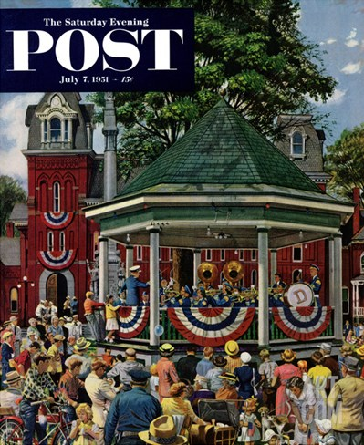 """Patriotic Band Concert"" Saturday Evening Post Cover, July 7, 1951 Stretched Canvas Print"