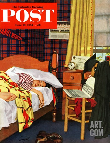 """Sleeping In"" Saturday Evening Post Cover, June 19, 1954 Stretched Canvas Print"