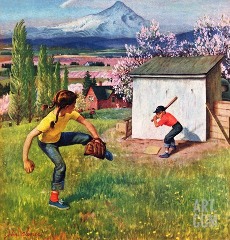 """Oregon Baseball"", April 21, 1951 Stretched Canvas Print"